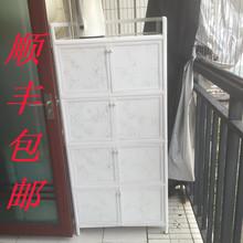 简易加厚不锈钢阳台储物杂物柜铝合金碗橱柜餐边柜子防水防晒柜子