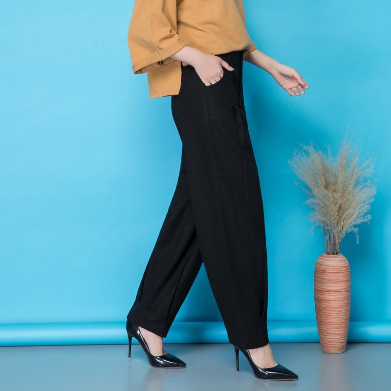 女士黑色灯笼裤女2019春夏季新款大码宽松阔腿高腰萝卜裤休闲舞裤图片
