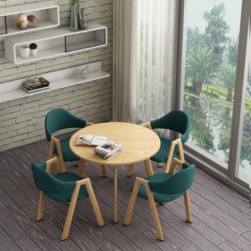 洽谈桌椅组合主题西餐厅接待椅咖啡厅奶茶店休闲会客北欧铁艺木桌