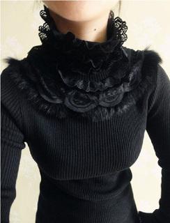 秋冬装新款韩版大码女装真兔毛高领蕾丝打底针织衫女长袖套头毛衣