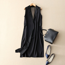 Large-brand European and American new high-end air field in the Long-style horse clip mesh yarn stitching silk sleeveless jacket female Majiaxia