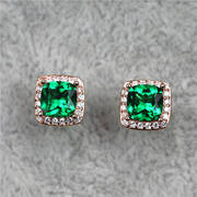 Square emerald gemstone female models 925 sterling silver plated 18K rose gold retro literary color treasure earrings earrings