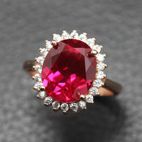 Royal Princess Wang Burmese Ruby Ring Female Jewelry 925 Sterling Silver Plated 18K Rose Gold Open Ring Adjustable