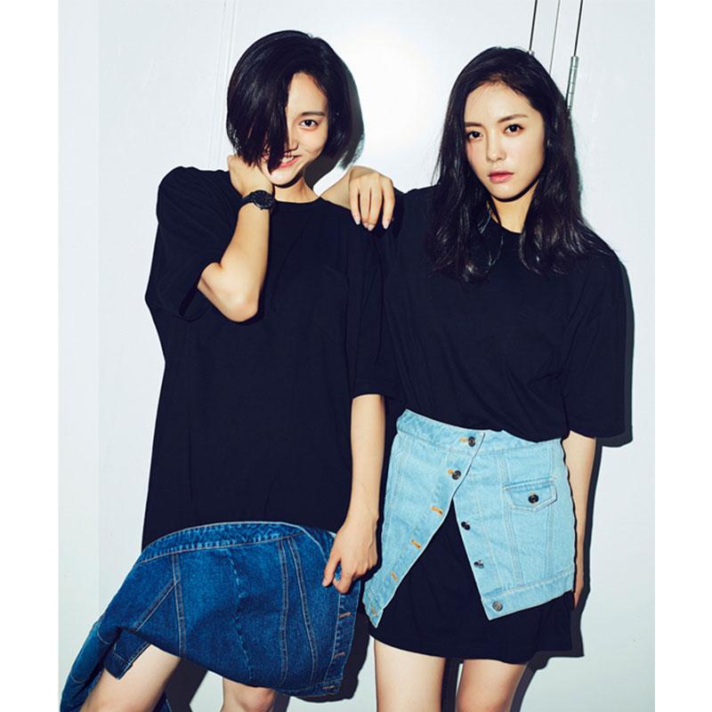 SJYP長款純色印花T恤 19夏韓范街頭封腰裙套裝純棉中款短袖家居服
