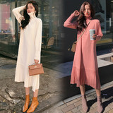Pregnant women sweater women's autumn and winter fashion loose dress in the long paragraph autumn high collar inside the knit bottoming shirt long section