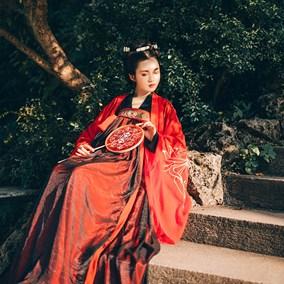 【红颜劫】一溪月汉服女装齐胸襦裙对襟金乌绣花锦丝皱两片式现货