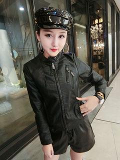 秋冬季黑色显瘦短外套2018时尚潮流女装新款韩版修身PU长袖夹克衫