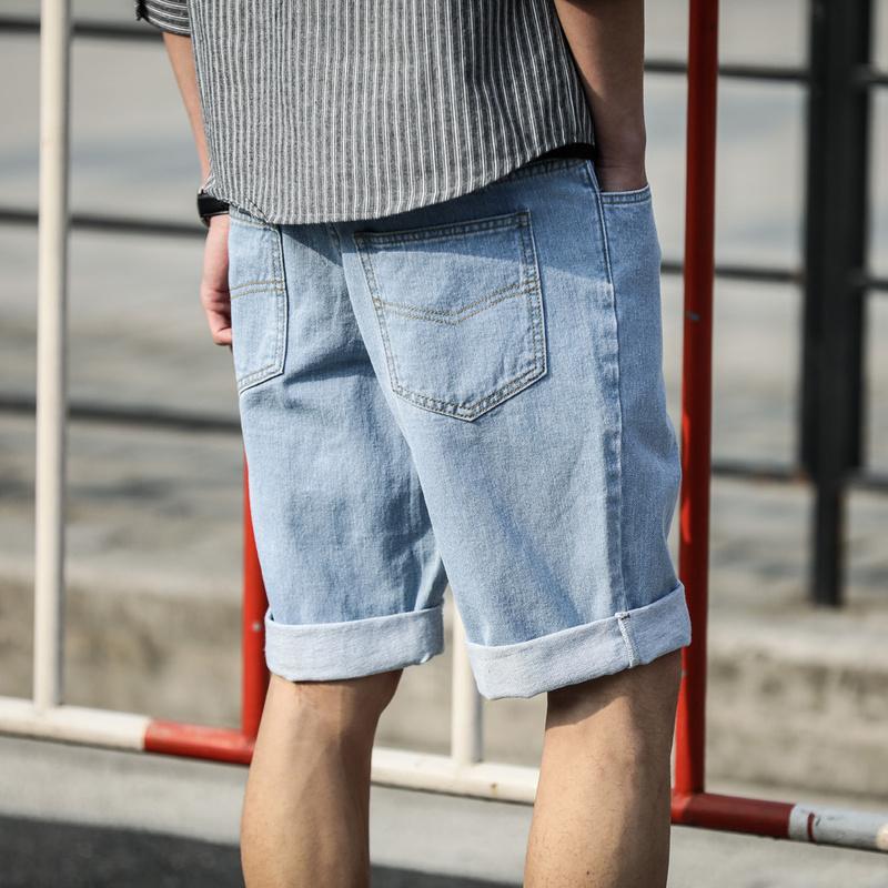 唐狮男士牛仔短裤男 五分裤夏季薄款宽松牛仔中裤男韩版潮