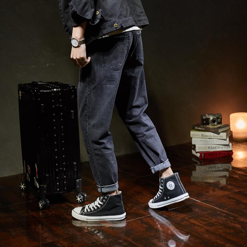 黑色牛仔裤小直筒
