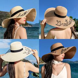 草帽女防晒遮阳沙滩海边大帽檐韩版度假出游网红小清新百搭太阳帽图片