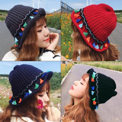 韩版秋冬天流苏毛线帽子加厚保暖潮可折叠渔夫帽盆帽女护耳针织帽