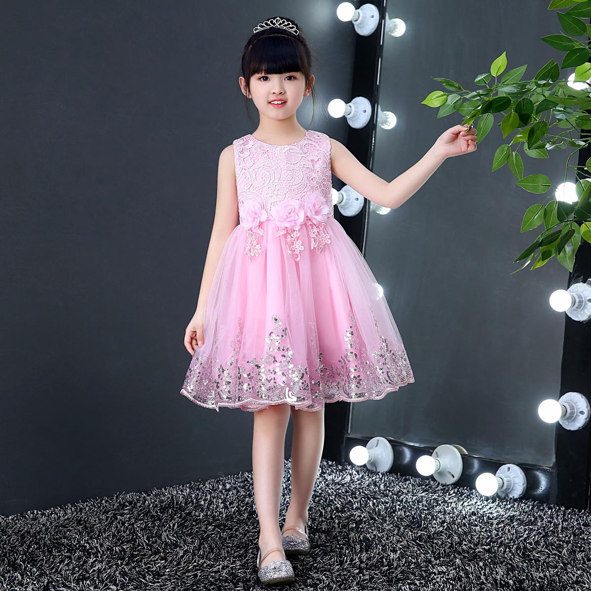 春夏童装连衣裙儿童礼服主持公主裙女童婚纱蓬蓬裙花童钢琴表演服