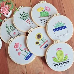 萌物志刺绣diy材料包 仙人掌植物绣花 欧式立体绣自制创意礼物
