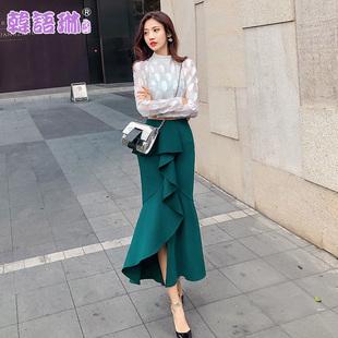 韩语琳空间2018春装新款女装韩版时尚高腰不规则荷叶边半身裙长裙