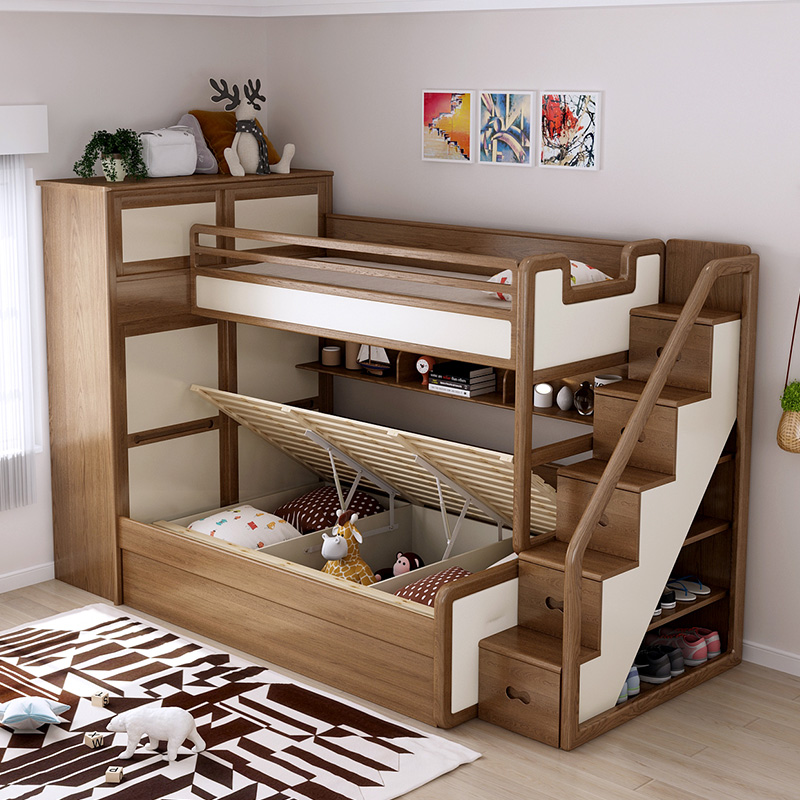 优升 小户型全实木带衣柜床储物高箱床上下床平行儿童子母高低床