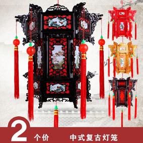中式塑料仿实木宫灯 过年新年春节装饰大门户外阳台大红灯笼挂饰