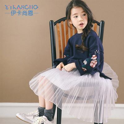 伊卡尚恩2018新款韩版春秋女童刺运动卫衣女大童休闲套头卫衣
