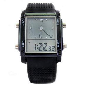 潮流 LED7彩男女硅胶闹钟防水时尚学生情侣双显运动电子果冻手表