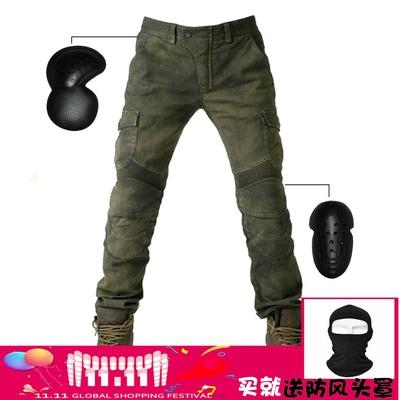 正品VOLERO 军绿休闲哈雷机车牛仔裤 摩托车骑行牛仔裤机车赛车裤