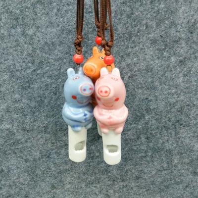流行欧美卡通可爱粉红猪小妹小猪佩奇手工陶瓷口哨项链吊坠饰品