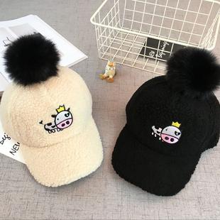 儿童羊羔绒棒球帽男女童保暖帽子宝宝奶牛造型鸭舌帽秋冬潮