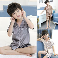 Children's pajamas, summer clothes, boys' home clothes, thin air-conditioning suits, ice silk suits, silk, pajamas, big boy, boy, summer