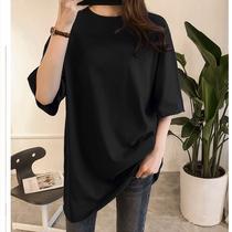 韩版夏糖果色加大码女装胖妹妹300斤宽松纯黑短袖T恤纯棉显瘦轻薄
