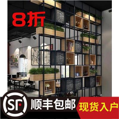 铁艺隔断屏风置物架书架工业风玄关餐厅架美式loft办公室铁艺架子