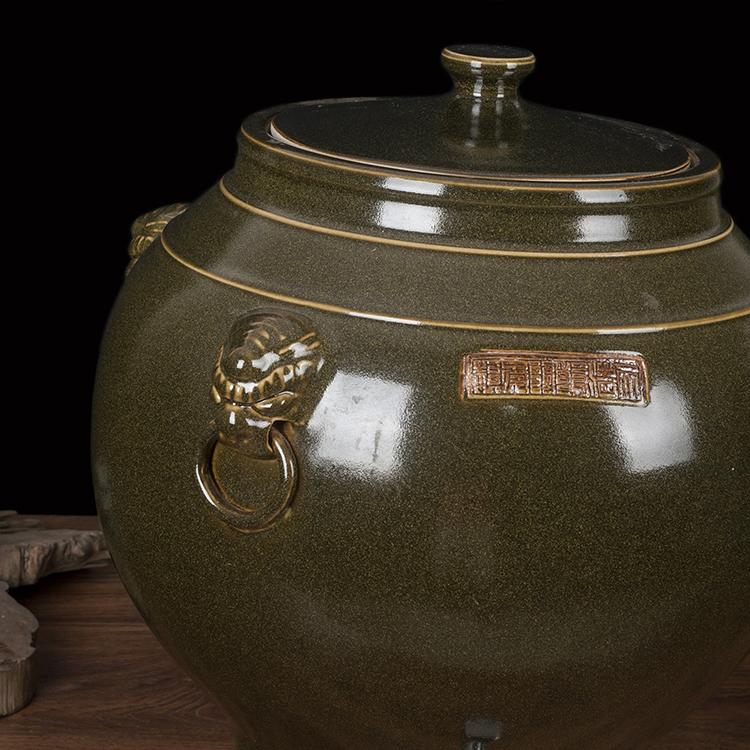 景德镇陶瓷酒坛 50斤茶叶末釉陶瓷带盖储水缸茶水缸油缸带水龙头