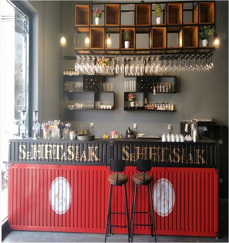 工业壁挂高脚杯新款金属艺术马克杯风餐厅壁柜架铁艺时尚悬挂架