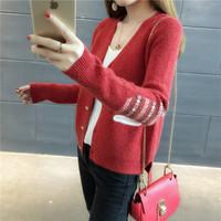 红色提花毛衣