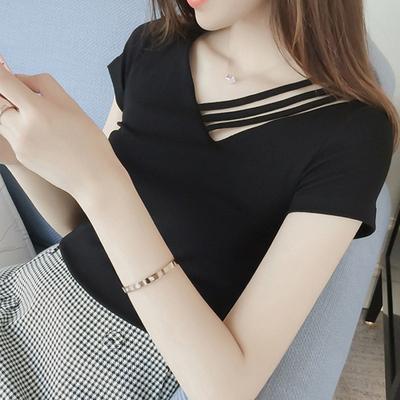 纯棉黑色夏季韩版修身显瘦V领上衣纯色打底衫个性漏肩短袖T恤女潮