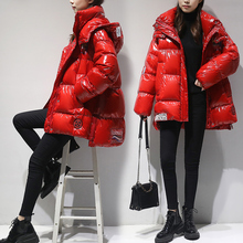 Red glossy down jacket female short paragraph 2018 winter new Korean fashion hooded padded bread jacket tide