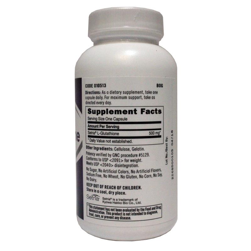 3瓶美国GNC健安喜谷胱甘肽500MG美白丸抗衰老抗氧化L-Glutathione