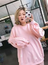 韩版大码女装洋气减龄200斤胖MM宽松镂空爱心刺绣卫衣