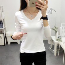 Long sleeve, low collar, autumn and winter t-shirt, black bottomed shirt, self-cultivation shirt, v-collar, autumn jacket, tights