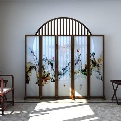 中式实木屏风隔断客厅玄关茶楼折叠移动现代简约装饰半透纱质折屏