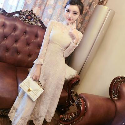 秋季新款2018韩版时尚长袖立领蕾丝修身显瘦气质大摆长裙连衣裙女