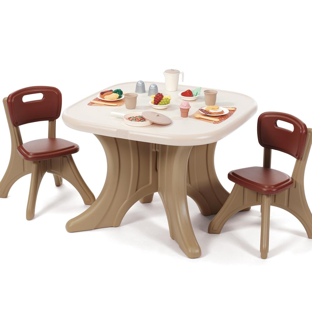 美国STEP2儿童家具宝宝桌椅套装游戏学习桌餐桌写字台塑料组合