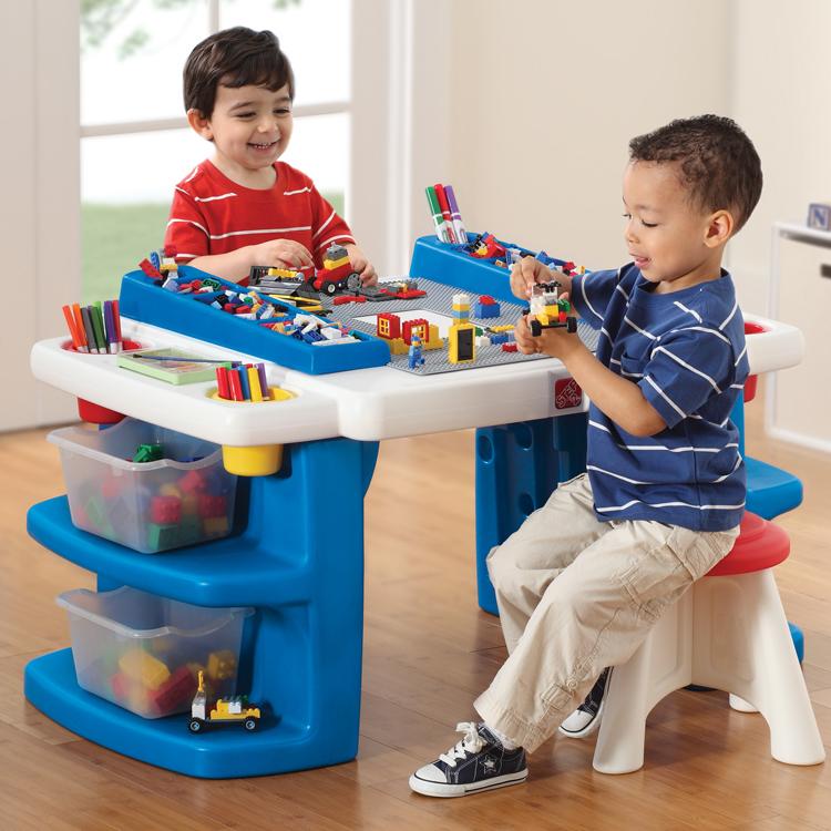 美国进口step2儿童家具欧式桌椅组合学习桌多功能乐高积木游戏桌