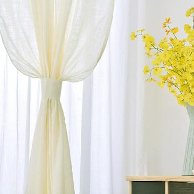 田园清新简约米白色纯色纯棉布卧室书房飘窗落地窗半遮光成品窗帘打折促销