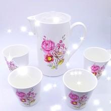 包邮陶瓷花茶具韩式耐热杯具家用办公大容量茶壶茶杯礼品套装5件