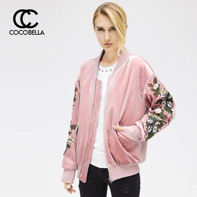 [折]COCOBELLA时尚花卉刺绣飞行员夹克女丝绒棒球棉服外套CT707