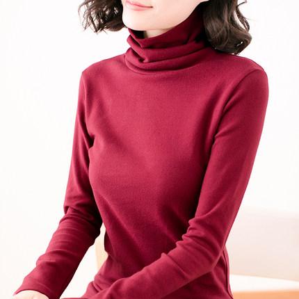 2018秋装新款韩版修身大码胖mm女装上衣高领纯棉长袖t恤打底衫女