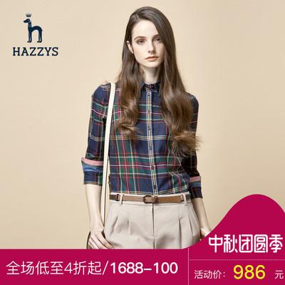 Hazzys哈吉斯格子衬衫女长袖女士衬衣纯棉休闲上衣新款女装打底衫
