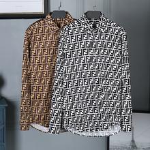 长袖 潮流衬衫 黑白青年经典 欧洲站潮新款 双FF字母印花男欧美风男士图片