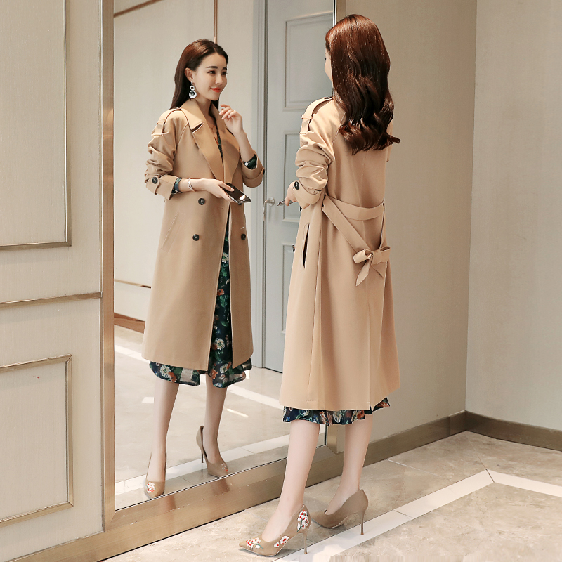 Windbreaker women in the long section 2018 spring new Korean Slim large size ladies spring section