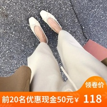 Recommend high-end cashmere broad-legged trousers soft waxy butter white knitted eight-minute trousers loose casual trousers for women to wear