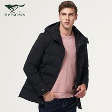 七匹狼棉服加厚 2018冬季新款男士连帽纯色厚棉衣外套男正品图片