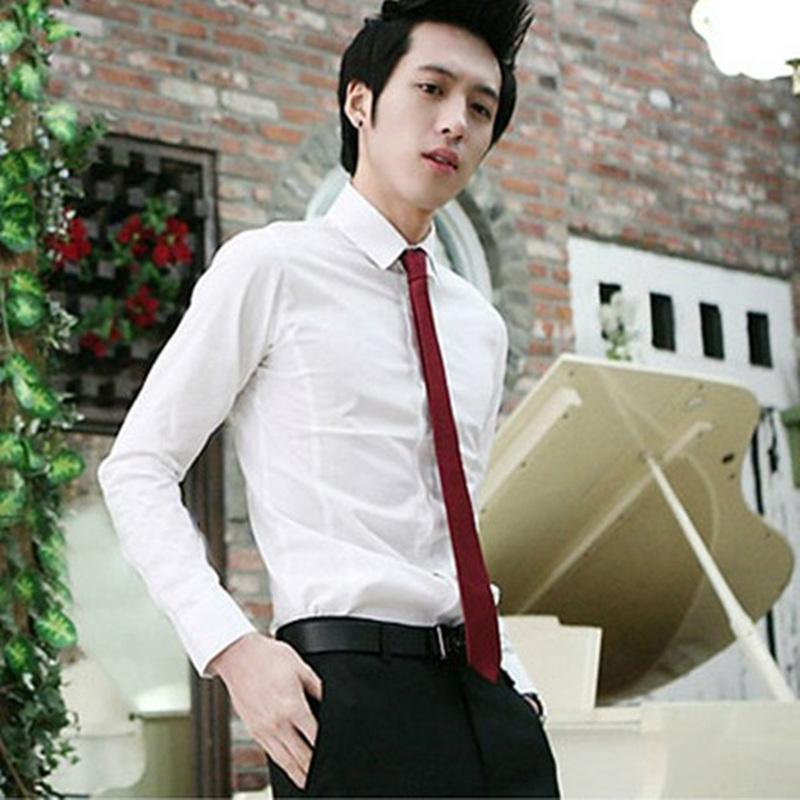 酒红色韩版小领带新郎伴郎夜店潮流商务休闲学生银色5cm细领带男
